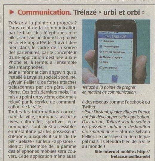 Article WebMaire Trélazé application Iphone